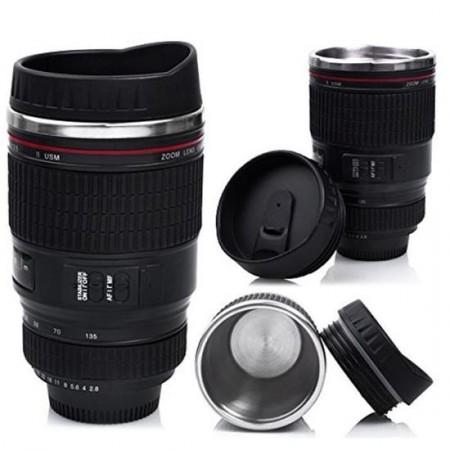 Tasse à café mug en forme d'objectif photo EF 24-105mm en acier inox + couvercle