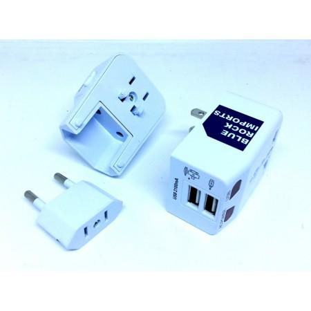 Adaptateur de voyage universel, avec 2 ports USB pour recharge des téléphone mobile