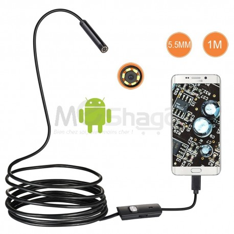 Camera endoscope 5.5mm pour SmartPhone/Tablette android et PC Windows