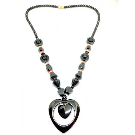 Collier - forme de cœur hématite