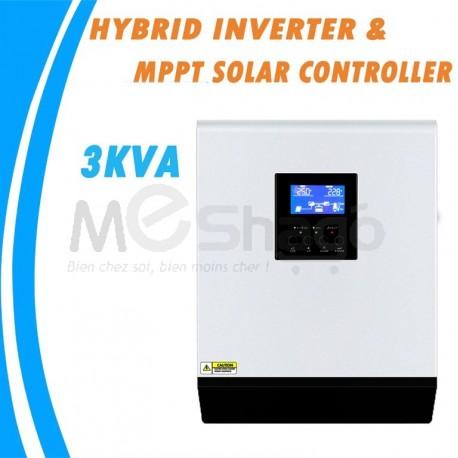 Onduleur Hybride Multifonction Solaire et Secteur, 3 KVA à onde sinusoïdale Pure 24 V 220 V
