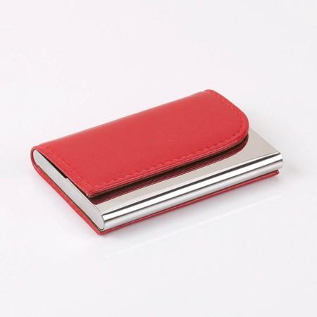 Porte-cartes de visite en acier inoxydable de haute qualité en cuir