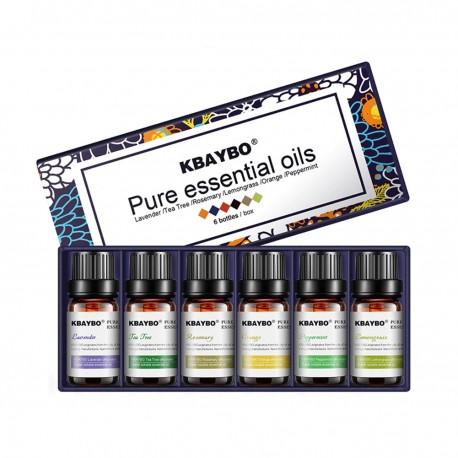 Kit d'huiles d'aromathérapie naturelles pures 6 pièces de 10ml, huile de parfum soluble dans l'eau ensemble