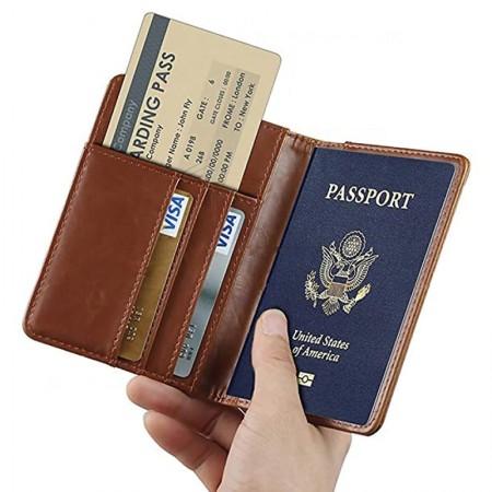Porte-passeport Haute qualité couverture Vintage PU cuir - Support carte de crédit