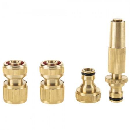 Kit 4 pièces de connexion rapide en laiton pour tuyaux