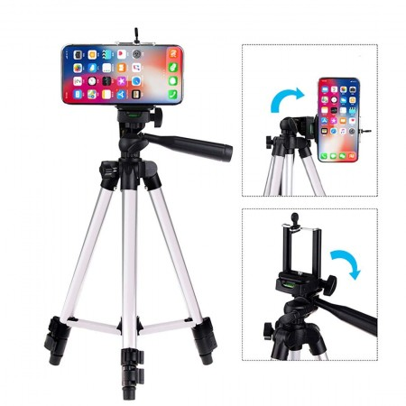Trépied portable et pliable avec support de clip mobile