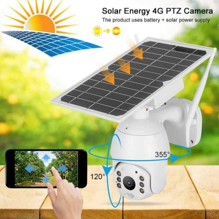 Caméra solaire 4K intelligente 4G, alerte PTZ IP66 Vision nocturne PIR système de Surveillance