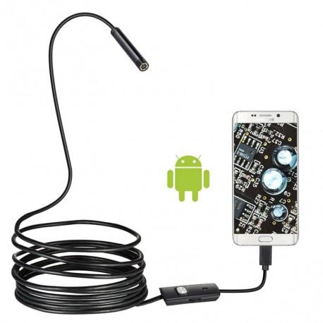 Caméra Endoscope Android, Fil Dur Long 3.5m, Objectif 7mm / 6 LED Étanche IP67 Pour Téléphones Android Et PC