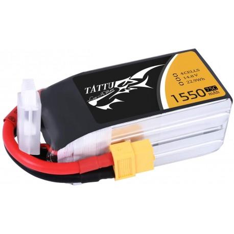 TATTU Batterie LiPo 14.8V 1550mAh 4S 75C Connecteurs XT60 pour FPV Racing Quadricoptère Racing Drone