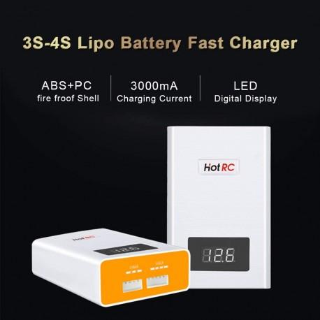 A400 3000mA Lipo Chargeur avec écran Numérique LED pour 3S-4S Lipo Batterie EU Plug 1 Pack Blanc