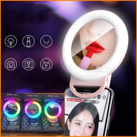 Anneau lumineux à clipser RVB LED avec miroir pour diffusion en direct de maquillage Selfie