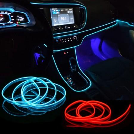Bande lumineuse fluo à LED 5050, décoration intérieur voiture, néon flexible long 2M