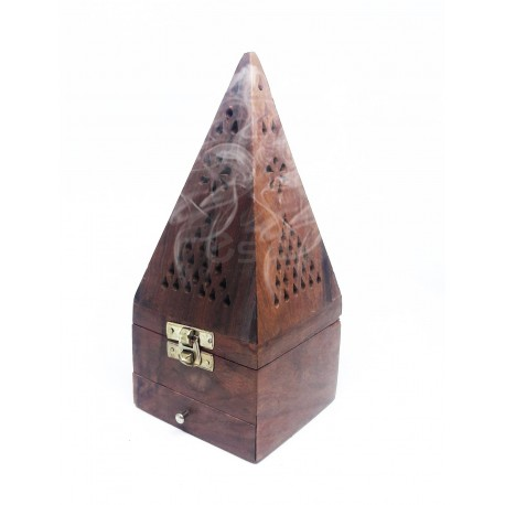 Brûleur d'encens en Bois pyramidal avec tiroir